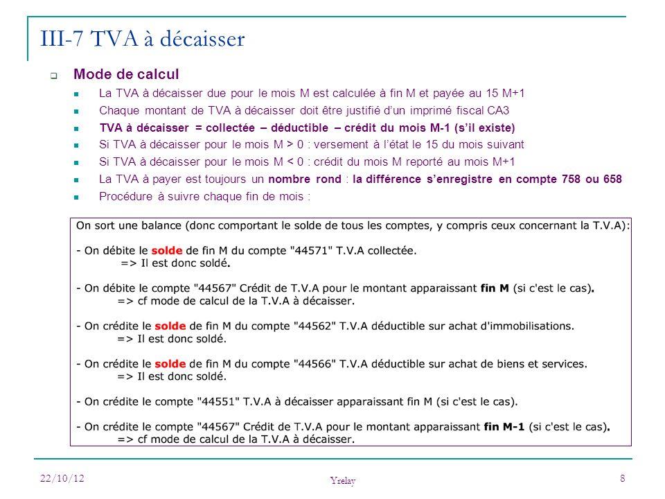 22/10/12 Yrelay 8 Mode de calcul La TVA à décaisser due pour le mois M est calculée à fin M et payée au 15 M+1 Chaque montant de TVA à décaisser doit