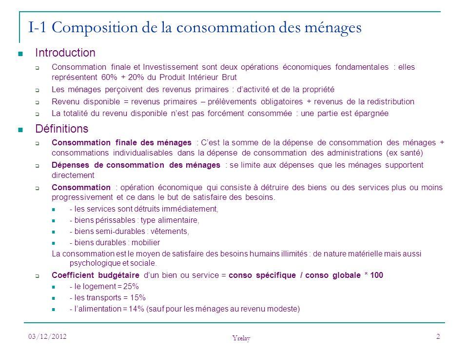 03/12/2012 Yrelay 2 Introduction Consommation finale et Investissement sont deux opérations économiques fondamentales : elles représentent 60% + 20% d