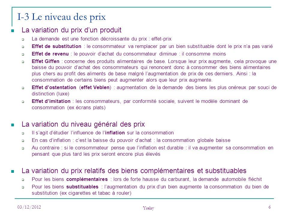 03/12/2012 Yrelay 6 La variation du prix dun produit La demande est une fonction décroissante du prix : effet-prix Effet de substitution : le consomma