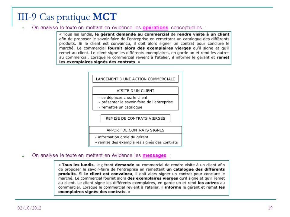 02/10/201219 On analyse le texte en mettant en évidence les opérations conceptuelles : On analyse le texte en mettant en évidence les messages : III-9