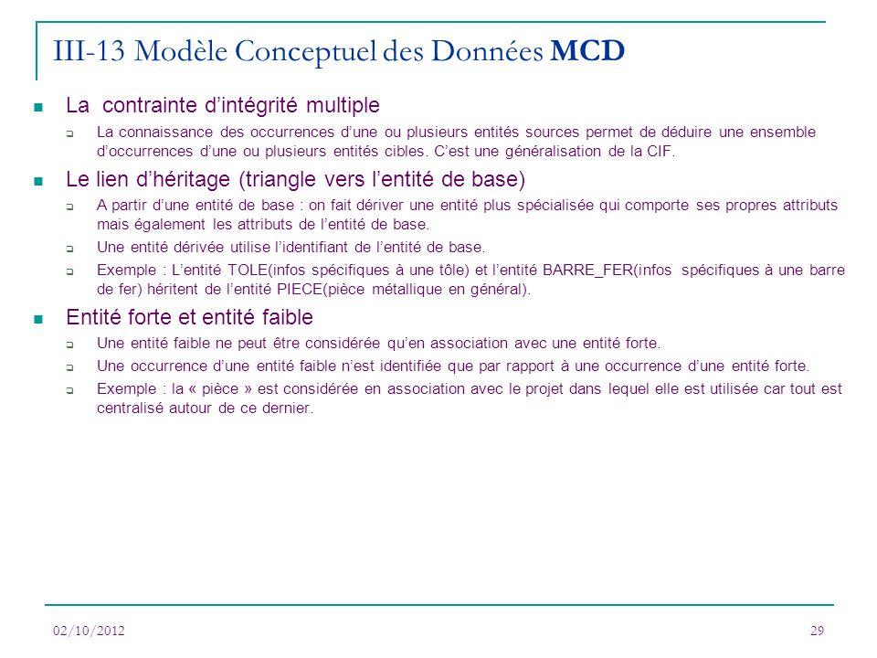 02/10/201229 La contrainte dintégrité multiple La connaissance des occurrences dune ou plusieurs entités sources permet de déduire une ensemble doccur