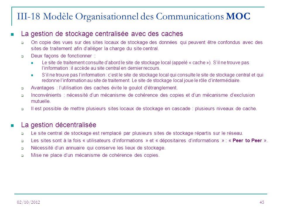 02/10/201245 La gestion de stockage centralisée avec des caches On copie des vues sur des sites locaux de stockage des données qui peuvent être confon