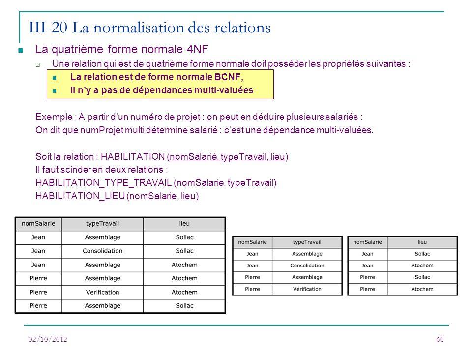 La quatrième forme normale 4NF Une relation qui est de quatrième forme normale doit posséder les propriétés suivantes : La relation est de forme norma