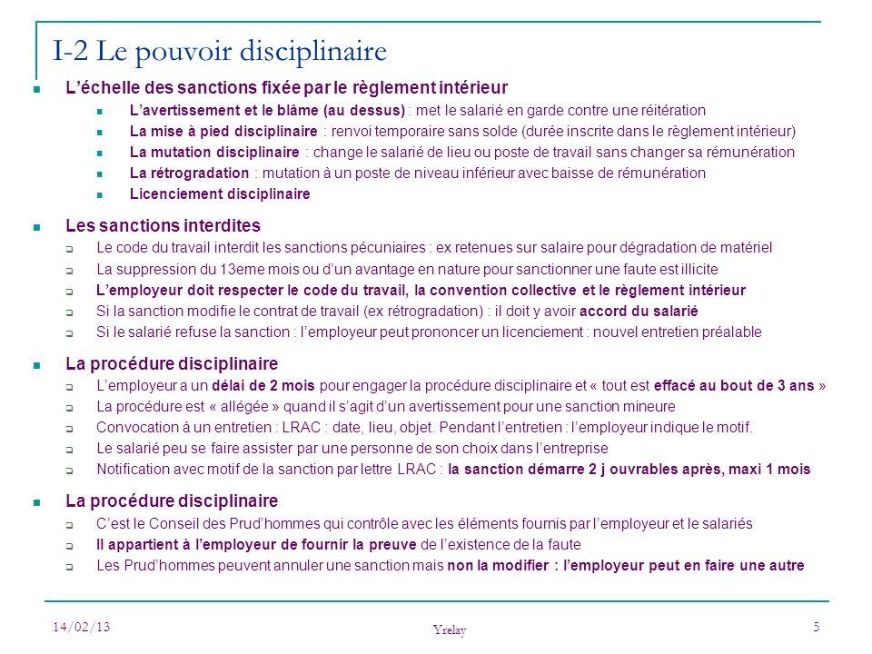 14/02/13 Yrelay 5 Léchelle des sanctions fixée par le règlement intérieur Lavertissement et le blâme (au dessus) : met le salarié en garde contre une