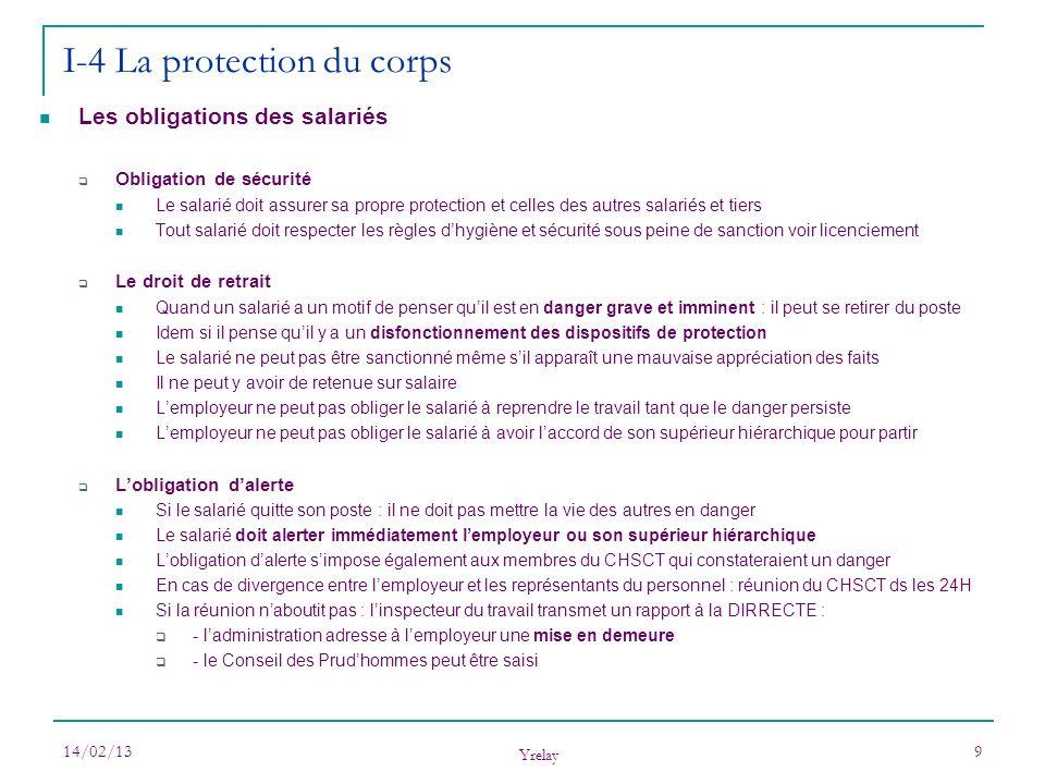 14/02/13 Yrelay 9 Les obligations des salariés Obligation de sécurité Le salarié doit assurer sa propre protection et celles des autres salariés et ti