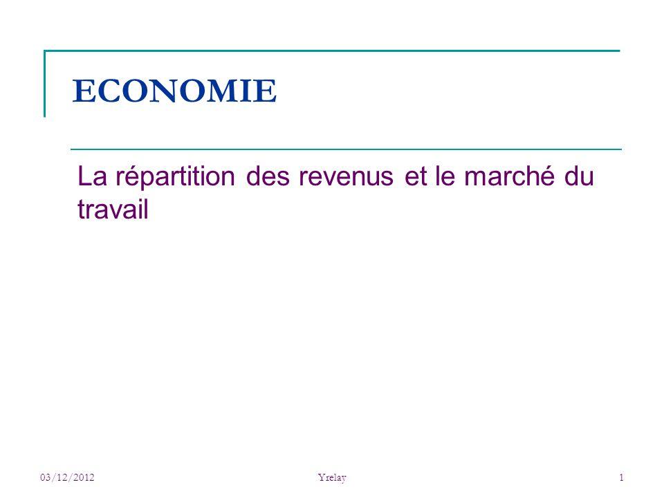03/12/2012Yrelay1 ECONOMIE La répartition des revenus et le marché du travail