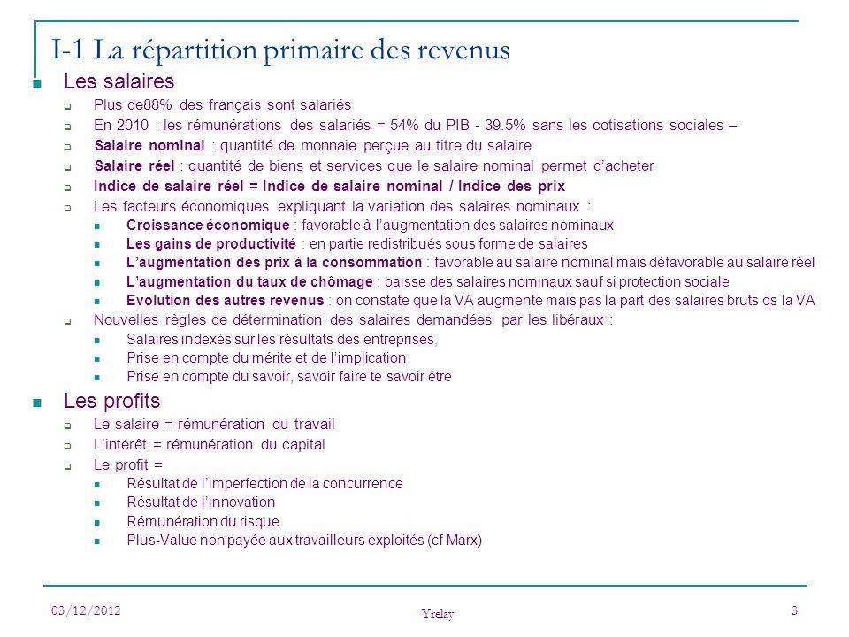 03/12/2012 Yrelay 3 Les salaires Plus de88% des français sont salariés En 2010 : les rémunérations des salariés = 54% du PIB - 39.5% sans les cotisati
