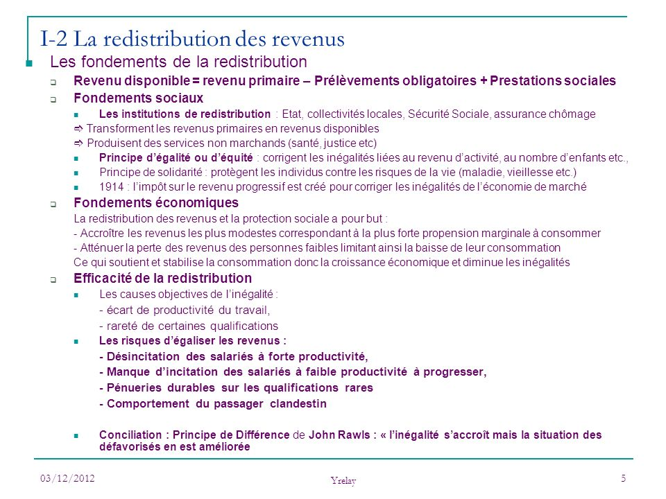 03/12/2012 Yrelay 5 I-2 La redistribution des revenus Les fondements de la redistribution Revenu disponible = revenu primaire – Prélèvements obligatoi