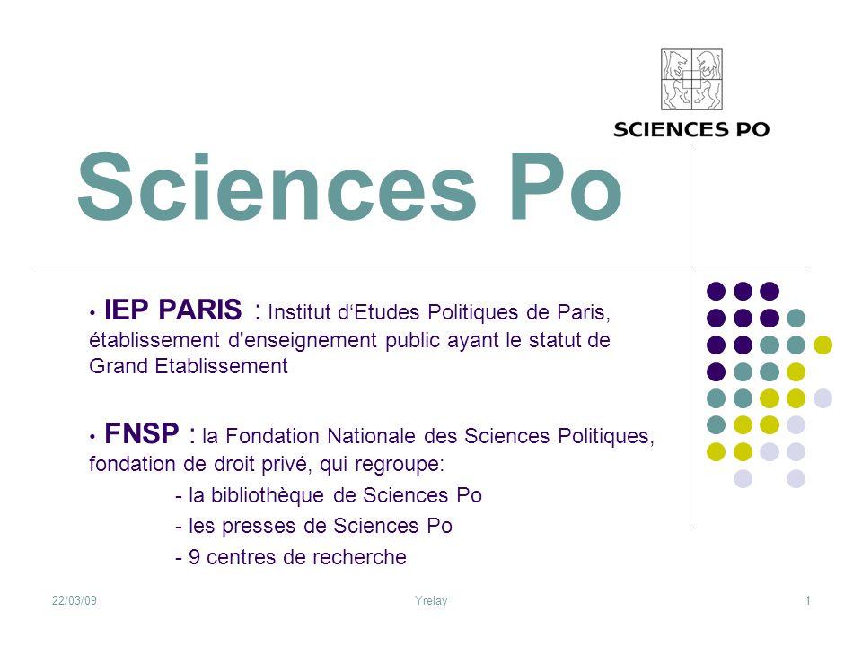 22/03/09Yrelay1 Sciences Po IEP PARIS : Institut dEtudes Politiques de Paris, établissement d'enseignement public ayant le statut de Grand Etablisseme
