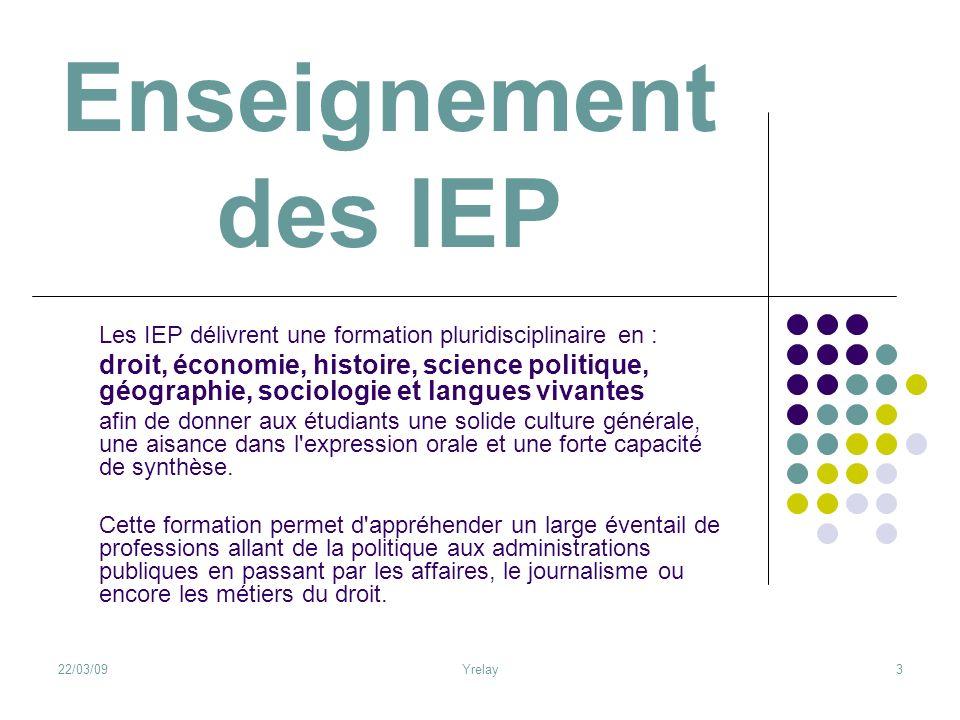 22/03/09Yrelay3 Enseignement des IEP Les IEP délivrent une formation pluridisciplinaire en : droit, économie, histoire, science politique, géographie,