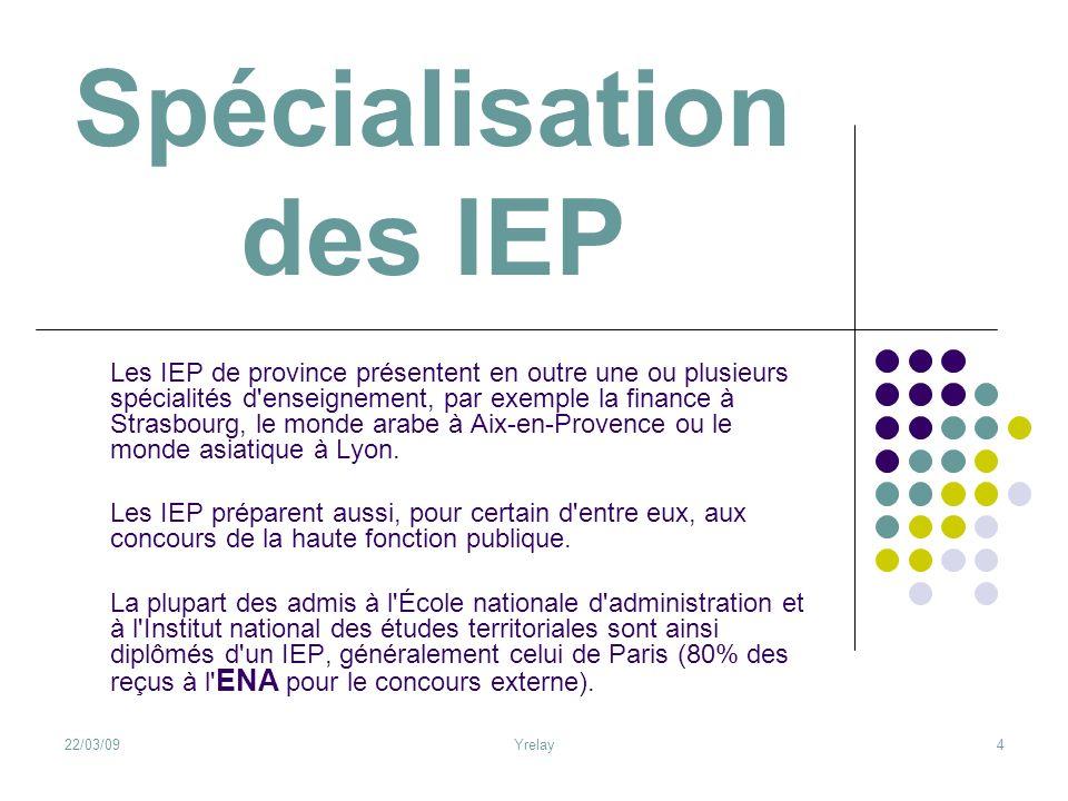 22/03/09Yrelay4 Spécialisation des IEP Les IEP de province présentent en outre une ou plusieurs spécialités d'enseignement, par exemple la finance à S