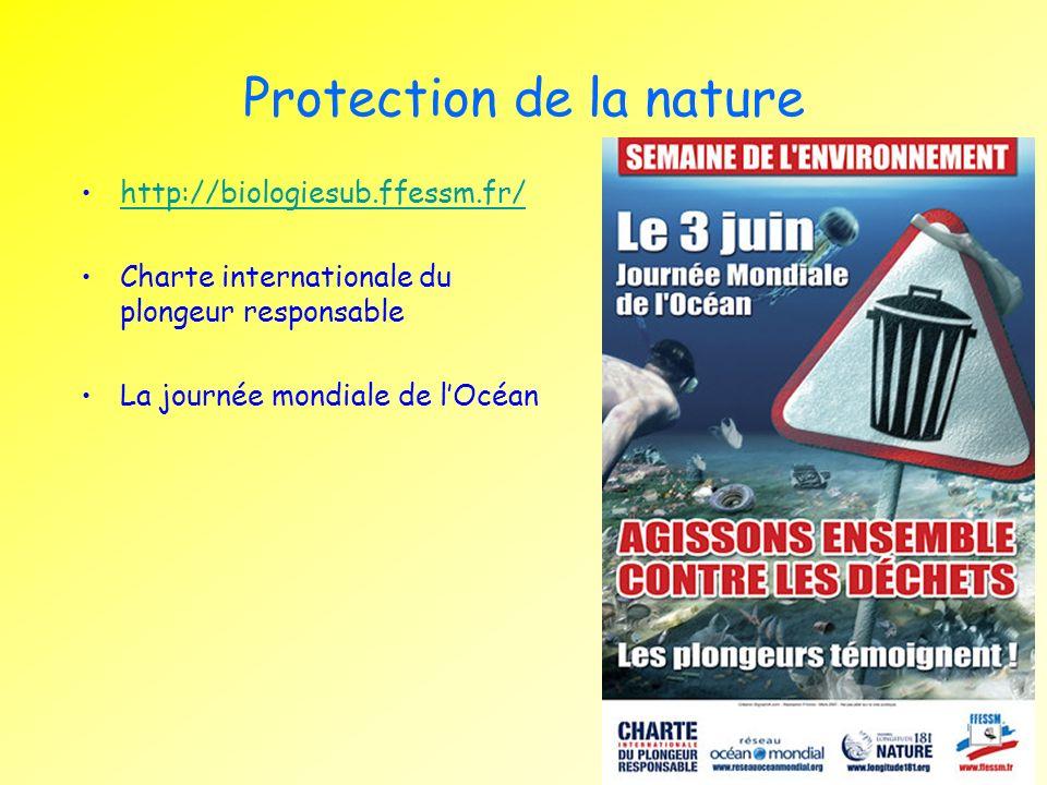 Protection de la nature http://biologiesub.ffessm.fr/ Charte internationale du plongeur responsable La journée mondiale de lOcéan