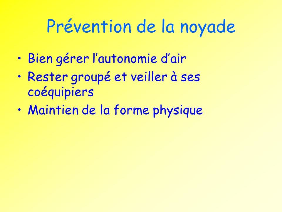 Prévention de la noyade Bien gérer lautonomie dair Rester groupé et veiller à ses coéquipiers Maintien de la forme physique