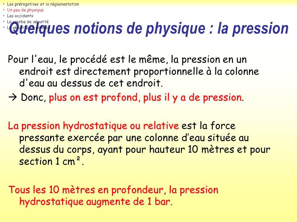 Quelques notions de physique : la pression Pour l'eau, le procédé est le même, la pression en un endroit est directement proportionnelle à la colonne