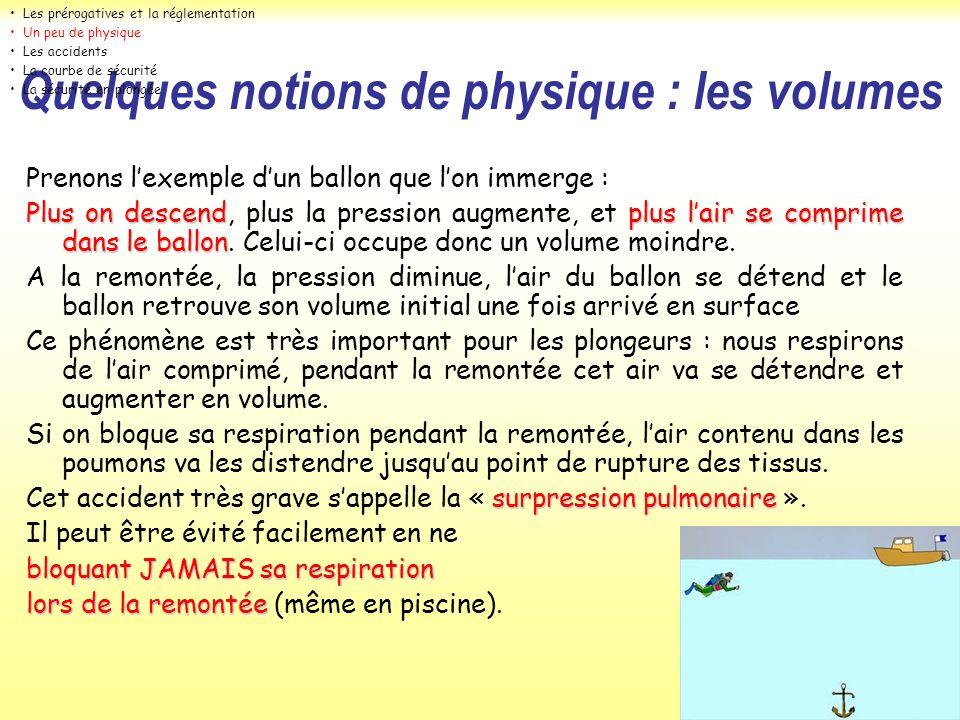 Prenons lexemple dun ballon que lon immerge : Plus on descendplus lair se comprime dans le ballon Plus on descend, plus la pression augmente, et plus