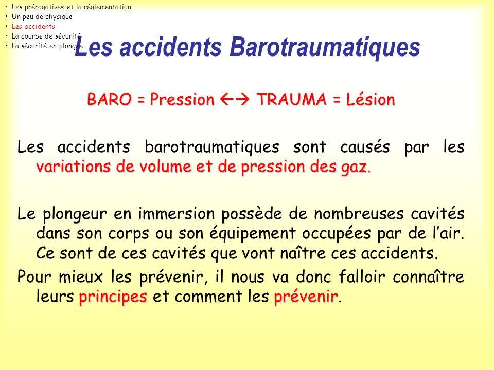 Les accidents Barotraumatiques BARO = Pression TRAUMA = Lésion variations de volume et de pression des gaz. Les accidents barotraumatiques sont causés