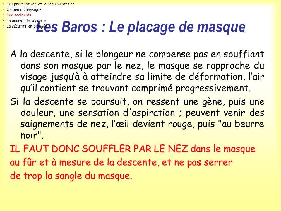 Les Baros : Le placage de masque A la descente, si le plongeur ne compense pas en soufflant dans son masque par le nez, le masque se rapproche du visa