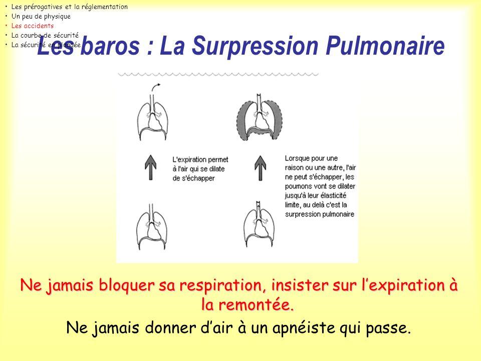 Les baros : La Surpression Pulmonaire Ne jamais bloquer sa respiration, insister sur lexpiration à la remontée. Ne jamais donner dair à un apnéiste qu
