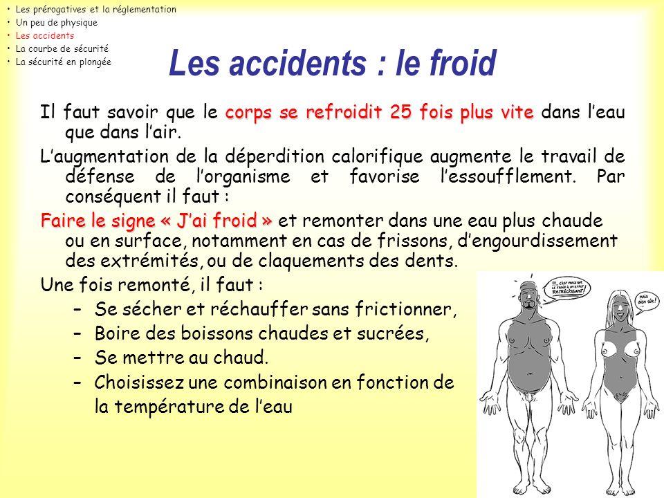 Les accidents : le froid corps se refroidit 25 fois plus vite Il faut savoir que le corps se refroidit 25 fois plus vite dans leau que dans lair. Laug