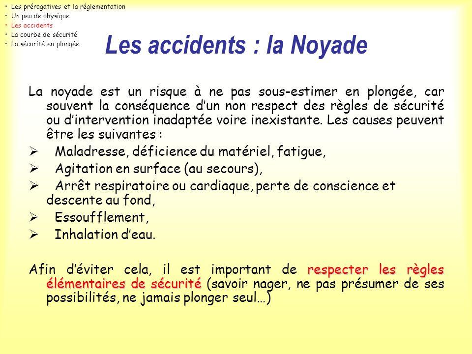 Les accidents : la Noyade La noyade est un risque à ne pas sous-estimer en plongée, car souvent la conséquence dun non respect des règles de sécurité