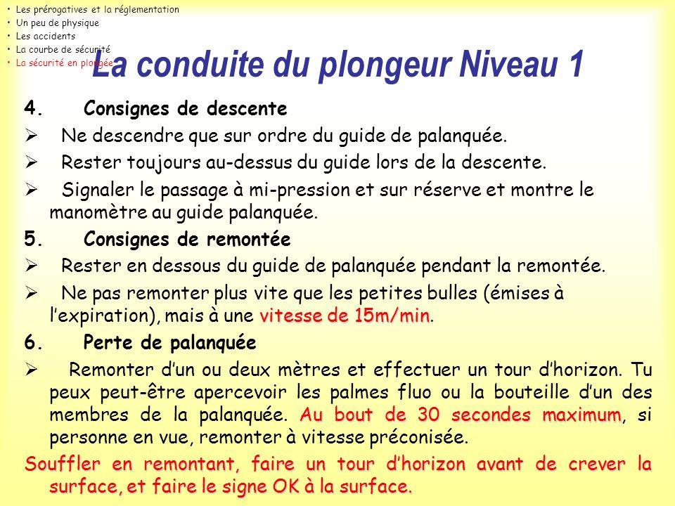 La conduite du plongeur Niveau 1 4. Consignes de descente Ne descendre que sur ordre du guide de palanquée. Rester toujours au-dessus du guide lors de