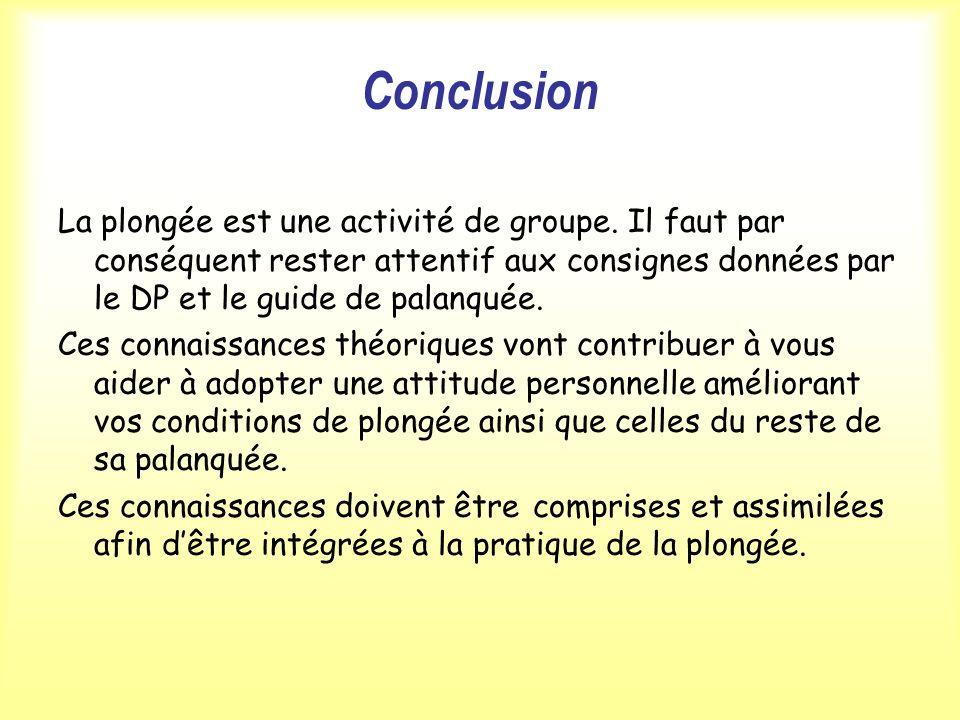 Conclusion La plongée est une activité de groupe. Il faut par conséquent rester attentif aux consignes données par le DP et le guide de palanquée. Ces