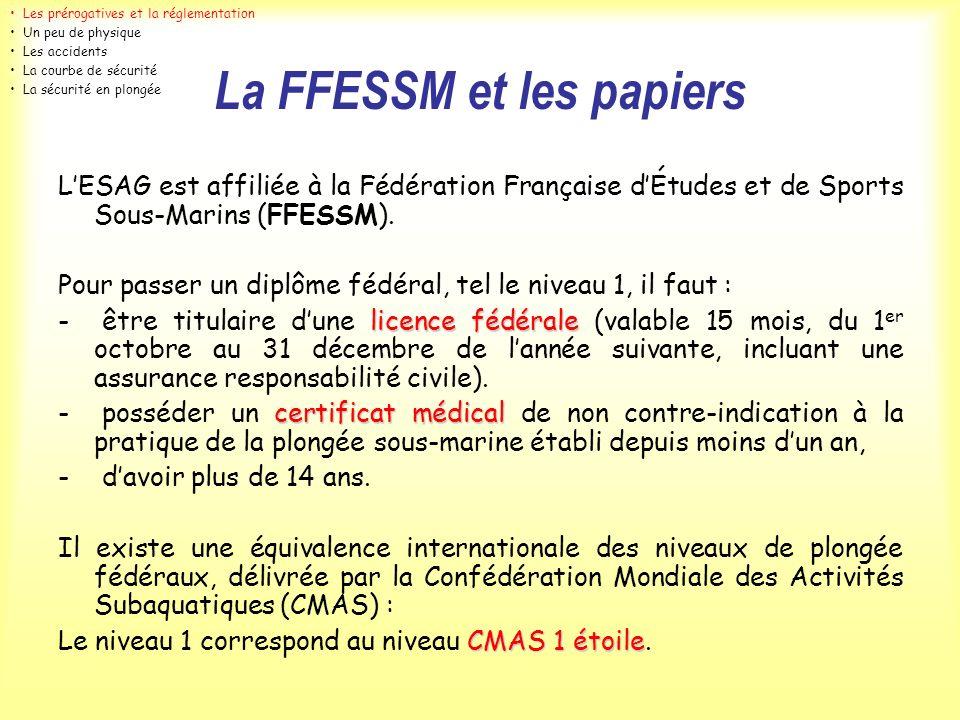 La FFESSM et les papiers LESAG est affiliée à la Fédération Française dÉtudes et de Sports Sous-Marins (FFESSM). Pour passer un diplôme fédéral, tel l