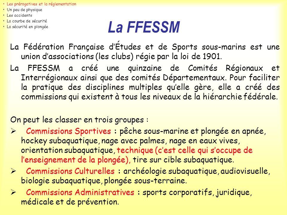 La FFESSM La Fédération Française dÉtudes et de Sports sous-marins est une union dassociations (les clubs) régie par la loi de 1901. La FFESSM a créé
