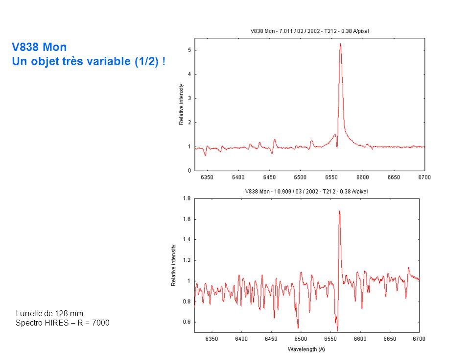 V838 Mon Un objet très variable (1/2) ! Lunette de 128 mm Spectro HIRES – R = 7000