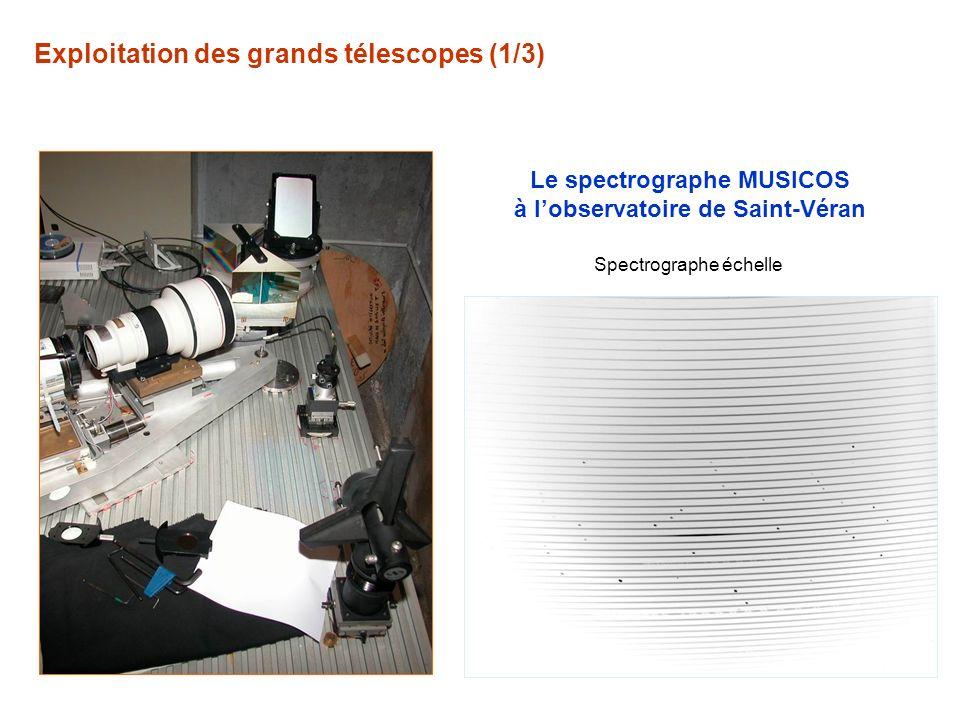 Exploitation des grands télescopes (1/3) Le spectrographe MUSICOS à lobservatoire de Saint-Véran Spectrographe échelle