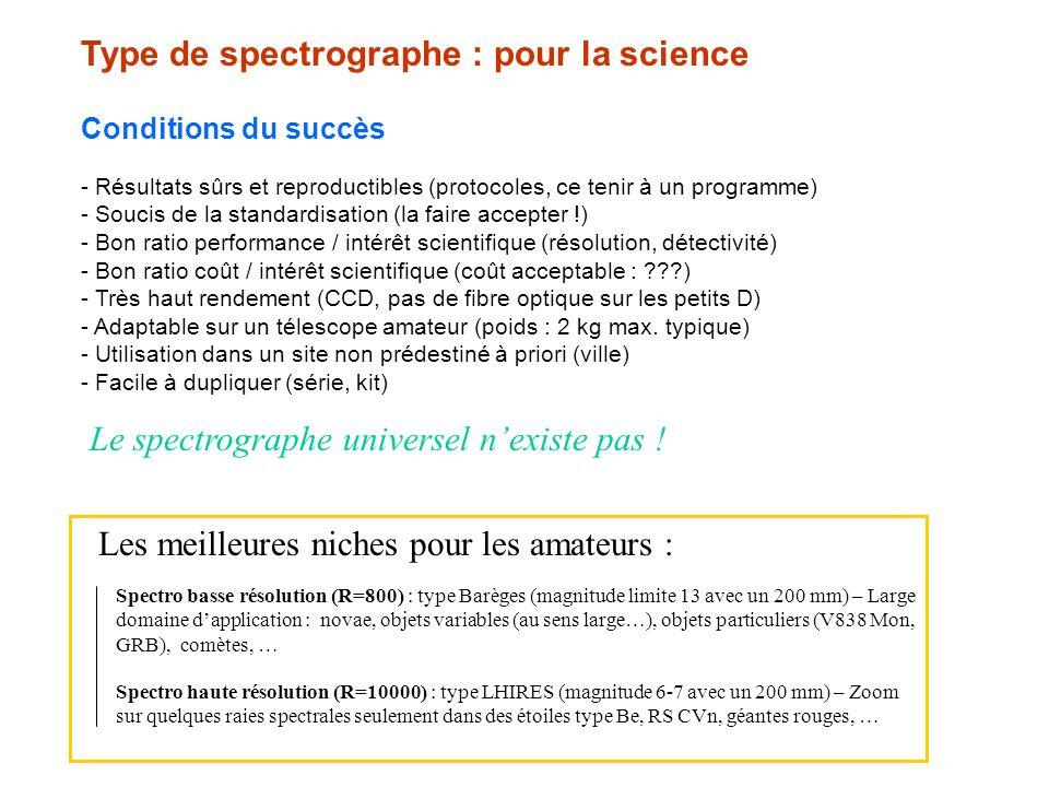 Type de spectrographe : pour la science Conditions du succès - Résultats sûrs et reproductibles (protocoles, ce tenir à un programme) - Soucis de la s