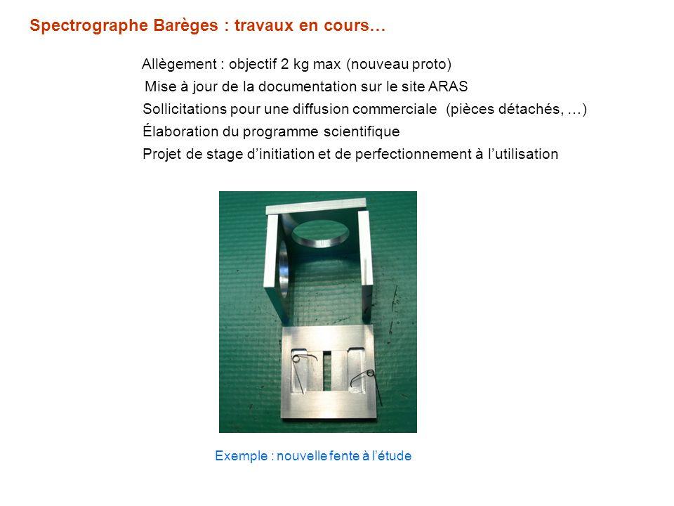 Spectrographe Barèges : travaux en cours… Allègement : objectif 2 kg max (nouveau proto) Exemple : nouvelle fente à létude Sollicitations pour une dif