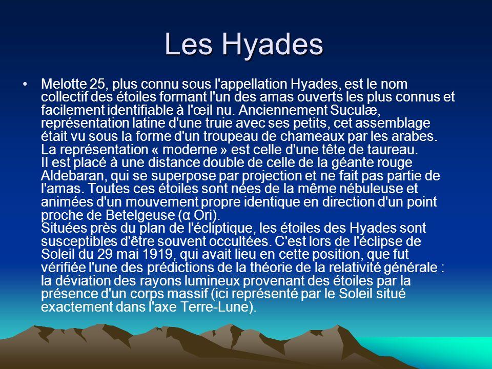 Les Hyades Melotte 25, plus connu sous l'appellation Hyades, est le nom collectif des étoiles formant l'un des amas ouverts les plus connus et facilem