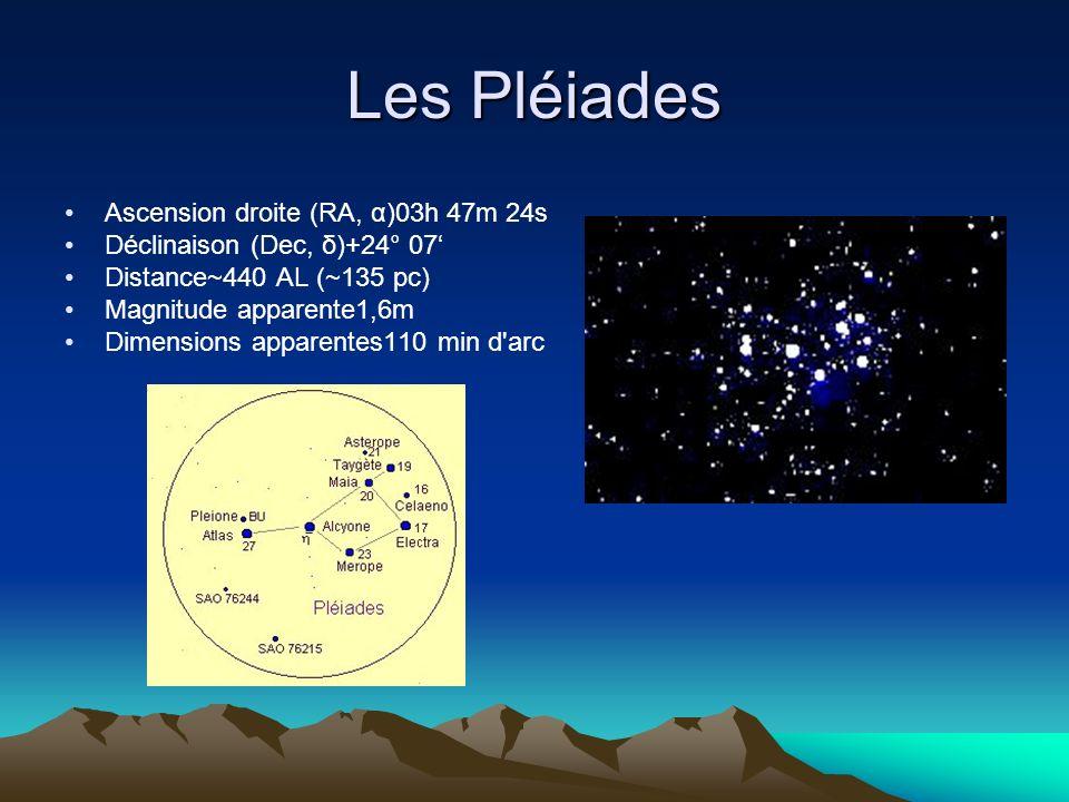 Les Pléiades Ascension droite (RA, α)03h 47m 24s Déclinaison (Dec, δ)+24° 07 Distance~440 AL (~135 pc) Magnitude apparente1,6m Dimensions apparentes11