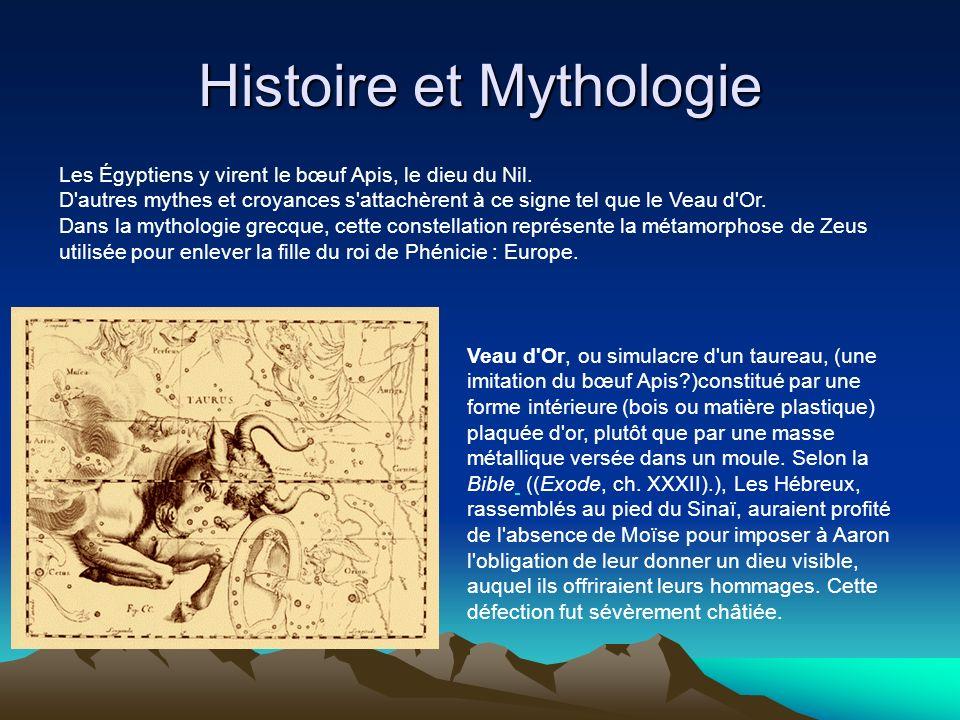 Histoire et Mythologie Les Égyptiens y virent le bœuf Apis, le dieu du Nil. D'autres mythes et croyances s'attachèrent à ce signe tel que le Veau d'Or