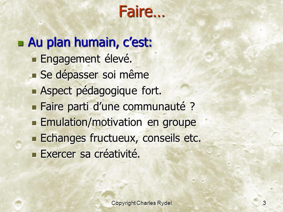 Copyright Charles Rydel3Faire… Au plan humain, cest: Au plan humain, cest: Engagement élevé.