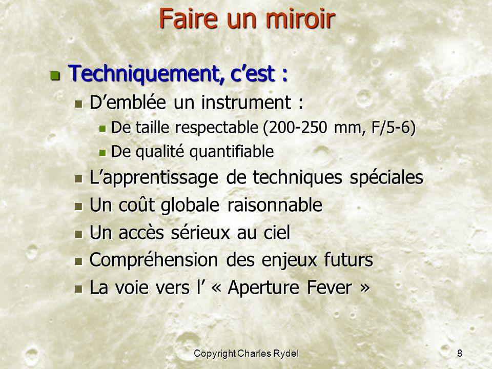 Copyright Charles Rydel8 Faire un miroir Techniquement, cest : Techniquement, cest : Demblée un instrument : Demblée un instrument : De taille respect