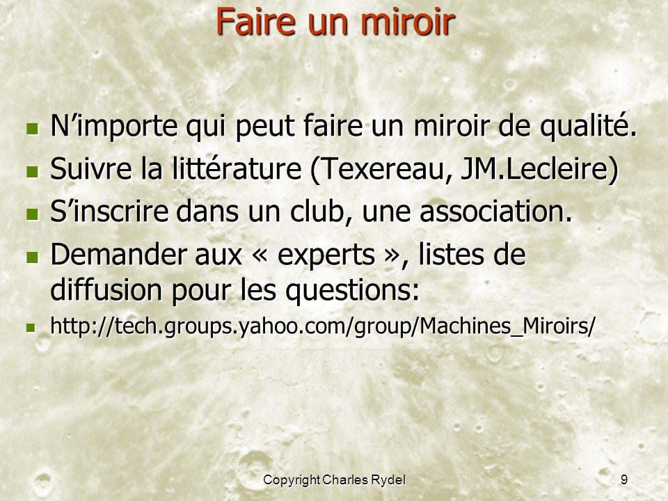 Copyright Charles Rydel9 Faire un miroir Nimporte qui peut faire un miroir de qualité. Nimporte qui peut faire un miroir de qualité. Suivre la littéra
