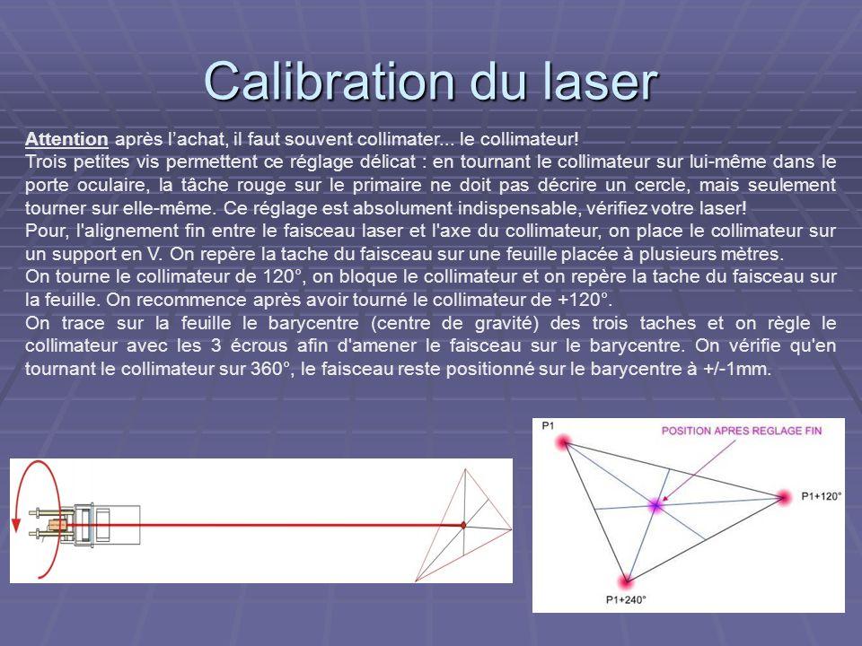 Collimation au laser La méthode de collimation au laser utilisée conjointement avec l oeilleton permet de caler le secondaire dans l axe longitudinal du tube (Normalement calé en usine, ce réglage est rarement requis et a peu d influence sur l image).