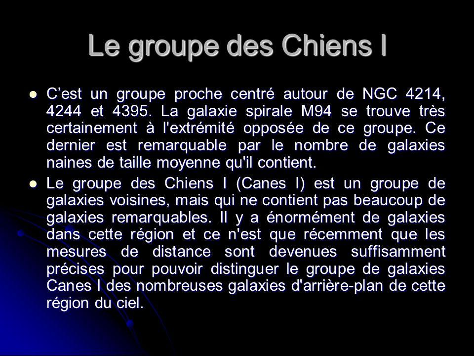 Le groupe des Chiens I Cest un groupe proche centré autour de NGC 4214, 4244 et 4395. La galaxie spirale M94 se trouve très certainement à l'extrémité