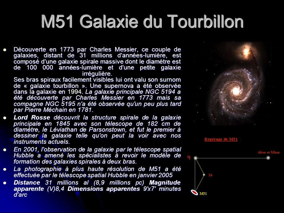 M51 Galaxie du Tourbillon Découverte en 1773 par Charles Messier, ce couple de galaxies, distant de 31 millions d'années-lumière, est composé d'une ga