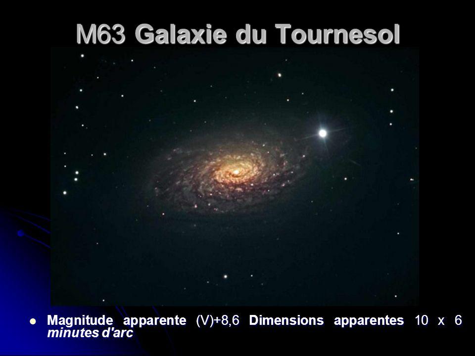 M63 Galaxie du Tournesol Magnitude apparente (V)+8,6 Dimensions apparentes 10 x 6 minutes d'arc Magnitude apparente (V)+8,6 Dimensions apparentes 10 x
