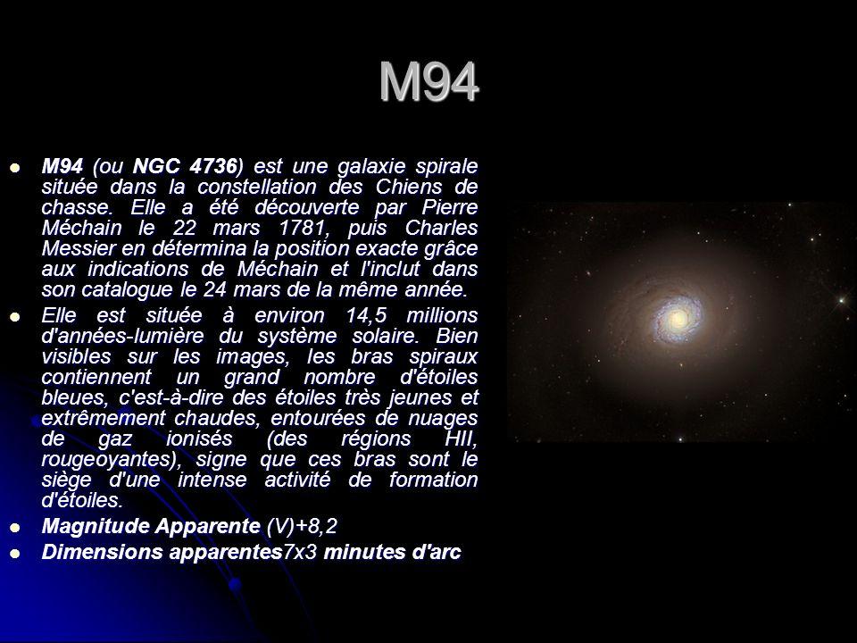 M94 M94 (ou NGC 4736) est une galaxie spirale située dans la constellation des Chiens de chasse. Elle a été découverte par Pierre Méchain le 22 mars 1
