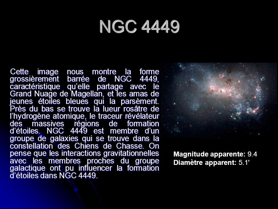 NGC 4449 Cette image nous montre la forme grossièrement barrée de NGC 4449, caractéristique quelle partage avec le Grand Nuage de Magellan, et les ama