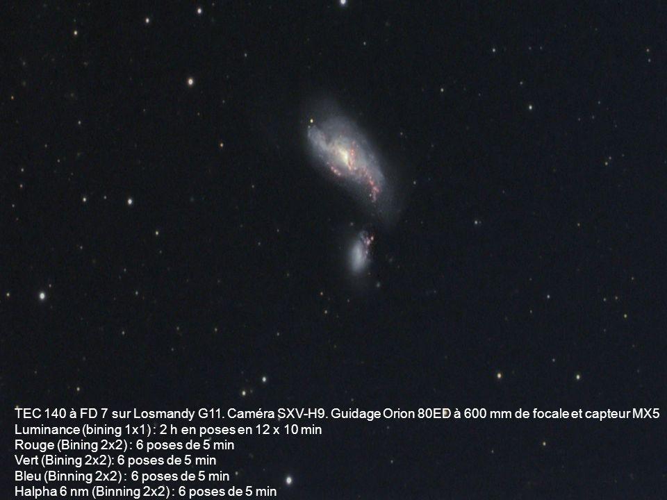 TEC 140 à FD 7 sur Losmandy G11. Caméra SXV-H9. Guidage Orion 80ED à 600 mm de focale et capteur MX5 Luminance (bining 1x1) : 2 h en poses en 12 x 10