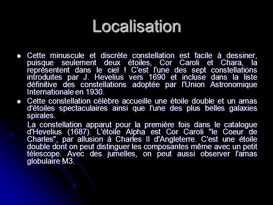 Localisation Cette minuscule et discrète constellation est facile à dessiner, puisque seulement deux étoiles, Cor Caroli et Chara, la représentent dan