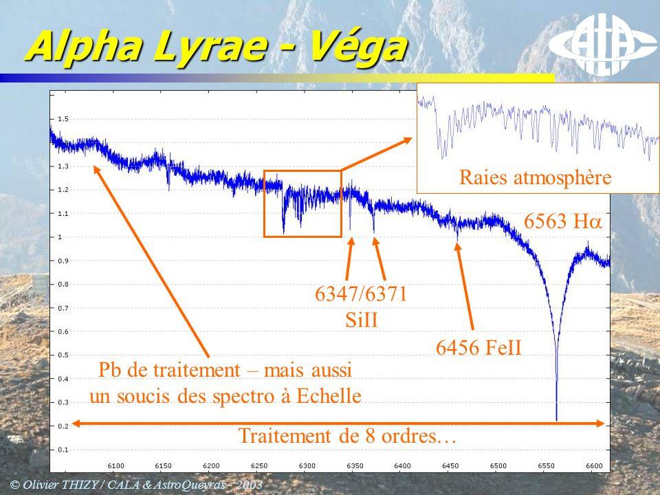 © Olivier THIZY / CALA & AstroQueyras - 2003 Alpha Lyrae - Véga Traitement de 8 ordres… 6563 H Pb de traitement – mais aussi un soucis des spectro à E