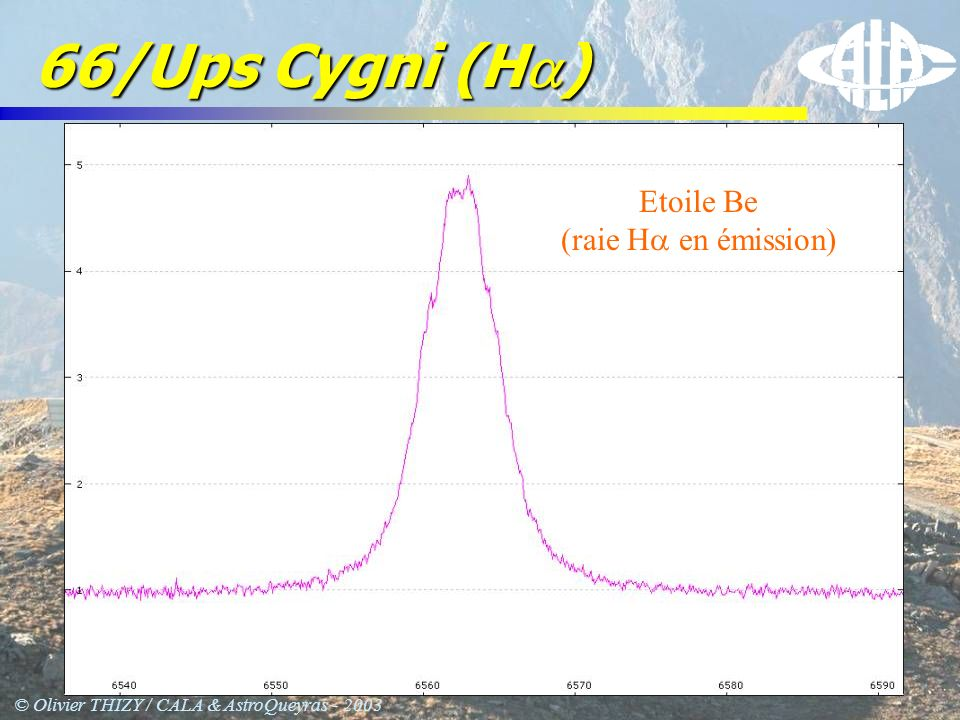 © Olivier THIZY / CALA & AstroQueyras - 2003 66/Ups Cygni (H ) Etoile Be (raie H en émission)