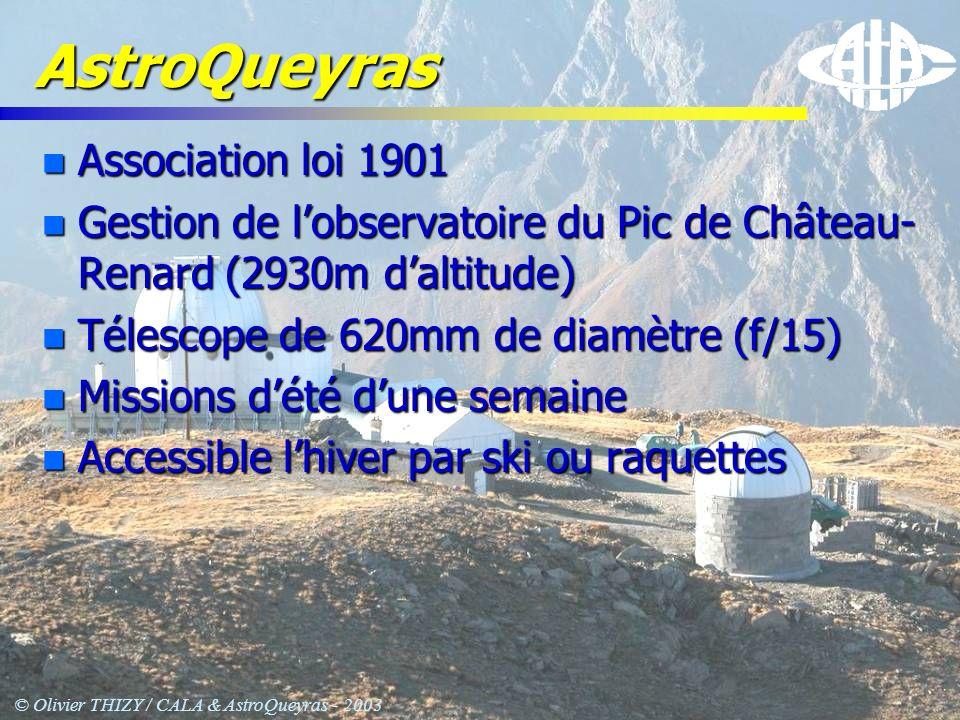 © Olivier THIZY / CALA & AstroQueyras - 2003 Quelques ordres de grandeur - instruments -