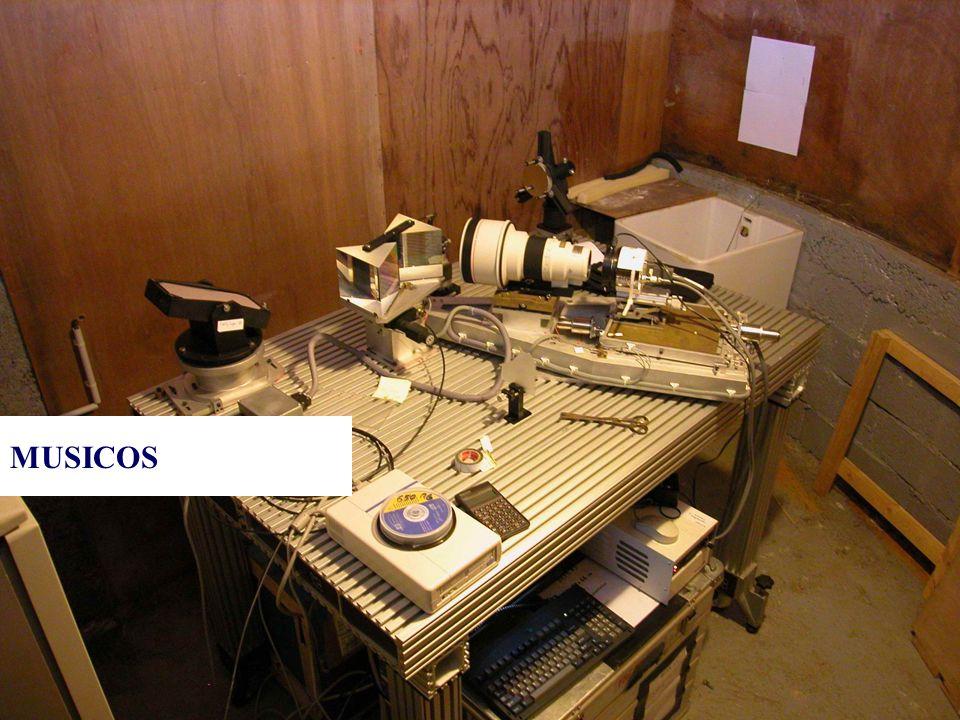 © Olivier THIZY / CALA & AstroQueyras - 2003 Informations n MUlti SItes COntinuous Spectroscopy n Construit au début des années 1990 n Double fibre 50µm (objet / référence) n Réseau à Echelle (à 63.5°, ordres 80-120) n Objectif de 400mm f/2.8 n Résolution R=35000 n Caméra CCD Photometrics CH350 n 460kg de matériel !